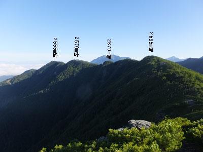 南ア北部 三峰岳(2999m)、安倍荒...